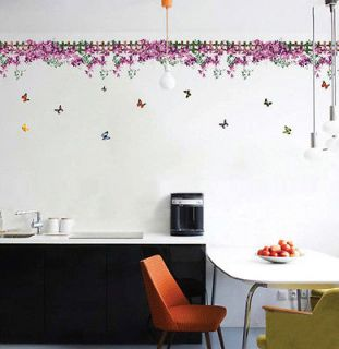 YQ Butterfly Fence flower sticker wall Decal Removable Art Vinyl Decor