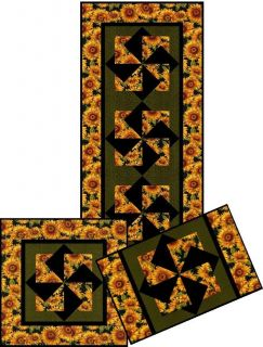 in the Sun QUILT TABLE RUNNER , WALL HANGING AND PLACEMAT PATTERN