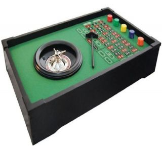 DELUXE TABLE TOP ROULETTE BOARD GAME CASINO CHIPS SPINNING WHEEL BALL