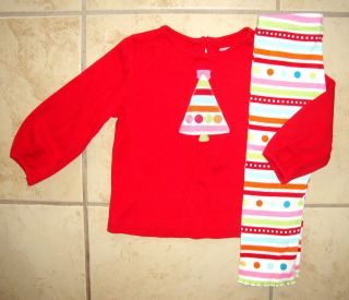 GYMBOREE COZY CUTIE Christmas Tree Top Leggings Outfit Girl Size 18 24