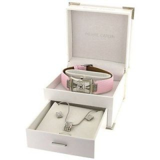 Pierre Cardin Ladies Pink Strap Watch, Earrings & Necklace Gift Set