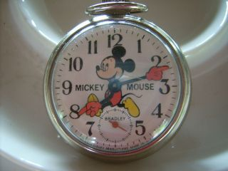 VINTAGE MICKEY MOUSE BRADLEY TIME DIVISIONS WIND UP POCKET WATCH