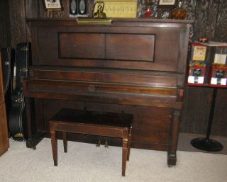 UPRIGHT PLAYER PIANO BY STORY & CLARK, 1980 REBUILD, ELECTRIFIED in