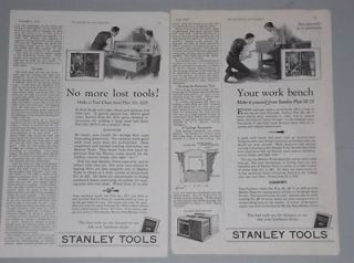 1927 STANLEY TOOLS ADS PLANS FOR BUILDING WORK BENCH & TOOL CHEST