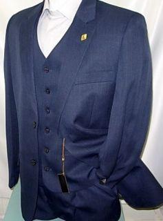 NEW ARRIVAL Stacy Adams Sun Vested Navy Blue Mens Suit Suits