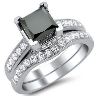 Newly listed 2.38CT BLACK PRINCESS CUT DIAMOND ENGAGEMENT RING BRIDAL