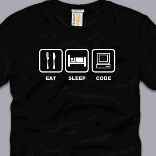 EAT SLEEP CODE T SHIRT SMALL funny programmer developer html linux