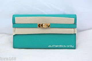 2012 COLOR BRAND NEW AUTHENTIC HERMES KELLY LONG WALLET CLUTCH BLUE