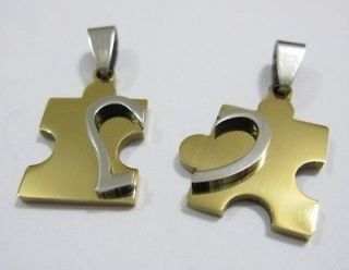 Love You Gold Stainless Steel Puzzle Lover Wedding Couple Necklaces