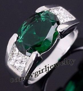 Jewelry Unique Mens Emerald 10KT White Gold Filled Ring Best Gift