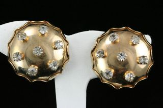 Jewelry Gold Tone & Rhinestone Cushion Puff Circle Clip Earrings