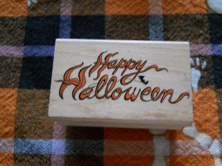 Rubber Stamp Saying Phrase Quote Verse Happy Halloween Ghostly Script
