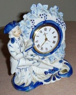 Linden Genuine Porcelain Colonial Figurine Mantel Clock w/ Alarm Made