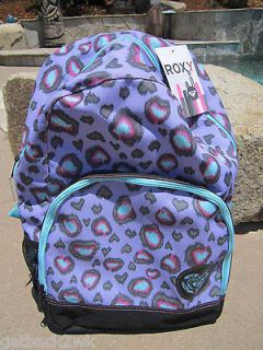 NEW♥ ROXY BACKPACK BOOK SCHOOL STUDENT BAG BLUE PURPLE ANIMAL PRINT