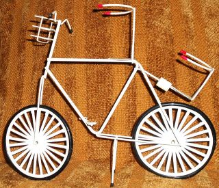 VINTAGE METAL BICYCLE DECOR BIKE TABLE CADDY TOOTHPICK HOLDER