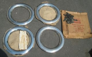 NOS 1949 1954 Ford accessory wheel trim rings with mounting clips