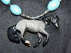 Gray quarter horse stallion pendant necklace Breyer Western cowgirl