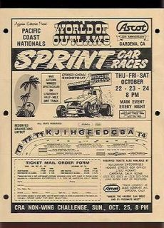 Vintage World of Outlaws Sprint Car Pacific Coast Natl Flyer EX (Sku