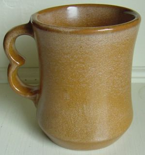 FRANKOMA Pottery Coffee Mug Caramel Tan Color Double Handle 4 Used