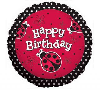 Lady Bug Jungle Red Black Dots Happy Birthday Party 18 Mylar Balloon