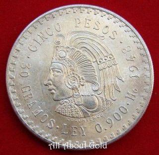 SILVER Coin 1948 MEXICO Mexican CUAUHTEMOCS 5 Pesos ASW .8681 oz