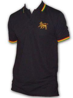 Rasta Reggae POLO Tee shirt Lion Of Judah Embroided Black UK