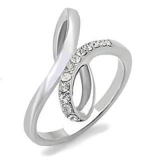 Steel Infinity Knot Cubic Zirconia CZ Ring U CHOOSE SIZE 5 6 7 8 9