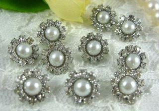 Sparkling Crystal/Rhinestone Pearl Buttons N008 ~ Great Price!