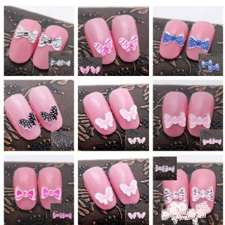 3D Acrylic Bow Tie Butterfly Nail Art Decoration Stickers Decals DIY
