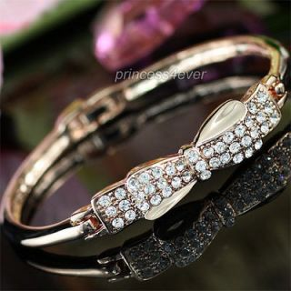 Bow Ribbon Crystal Rose Gold Plated Bangle SB072
