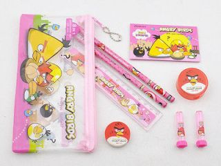 NEW PINK Angry Birds 8 In 1 Pencil Case Bag PARTY School Stationery