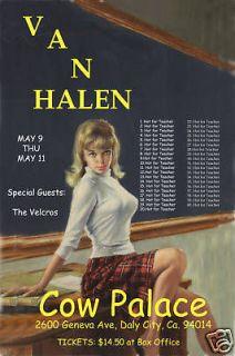 David Lee Roth & Van Halen at The Cow Palace Concert Poster Circa
