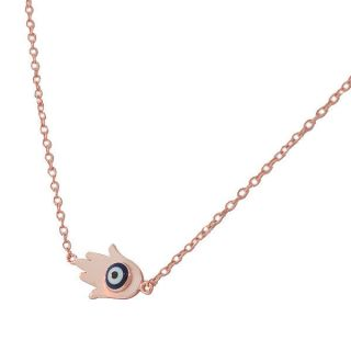 Silver Rose Gold Womens Hamsa Evil Eye Pendant Necklace with Chain