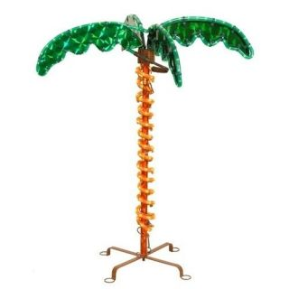 Tropical Holographic LED Lighted 2.5 Rope Palm Tree With Amber Trunk