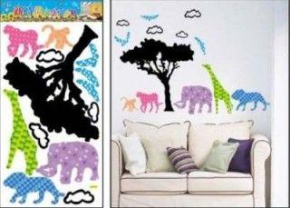SAFARI ANIMALS CHILDRENS WALL ART DECOR STICKERS