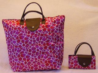 New HOT PINK GIRAFFE Animal Print SAK PAK PURSE TOTE HANDBAG