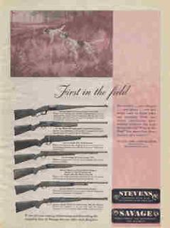 1948 SAVAGE MODEL 99 LEVER RIFLE AD with 8 OTHER RIFLE AND SHOTGUN