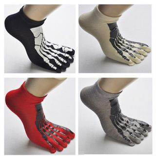 Unisex Men Cotton 1 3 5 Pairs Red Blue Grey Skeleton Toe Socks Five