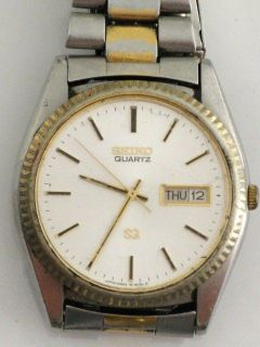 VINTAGE SEIKO QUARTZ SILVER & GOLD WHITE FACE WATCH SQ 6923 809LR