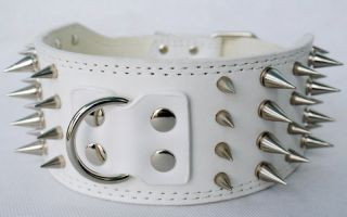 White Spiked Dog Leather Collars for Pitbull Dogs Large Collars