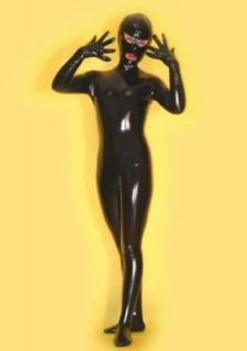 Full Body Satin Spandex /w Latex Suit Eyes&Mouth H491B