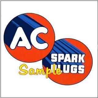 AC Spark Plugs 2x2 Gas Vinyl Stickers Oil Decals Gasoline Pump Signs