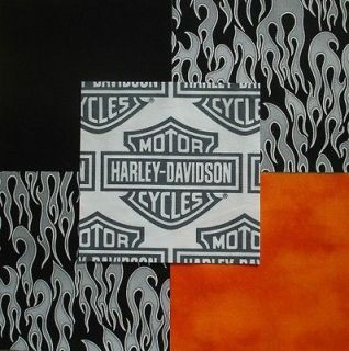 HARLEY DAVIDSON Logo Shield Silver flames Black Quilt Fabric Squares