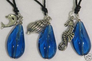 H2O Just Add Water Blue Glass Crystal Charms Necklaces H20