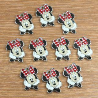 Lot 10pcs Cute Minnie Mouse Metal Charm Pendants Girls Jewerly Making