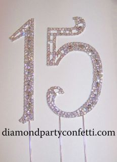 Rhinestone Silver Crystal Quinceanera 15 Birthday Number Cake Topper