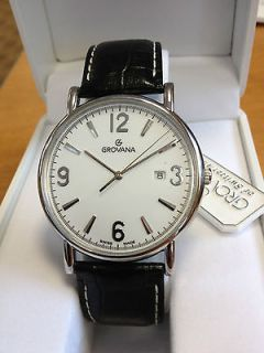 Grovana Mens Stainless Steel Black Strap Watch *NEW* Direct From