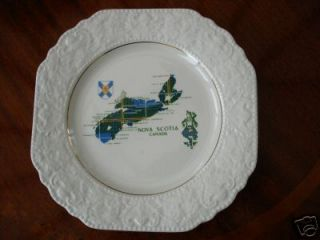 VINTAGE LORD NELSON POTTERY PLATE   A MAP OF NOVA SCOTIA CANADA