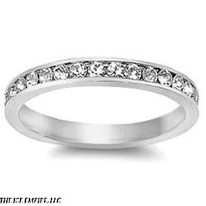 3mm .925 Sterling Silver SWAROVSKI CLEAR CRYSTAL CHANNEL SET WEDDING