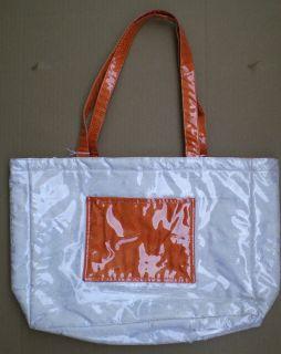 Silk Clear Plastic Beach Bag for Summer White w/ Orange Pocket